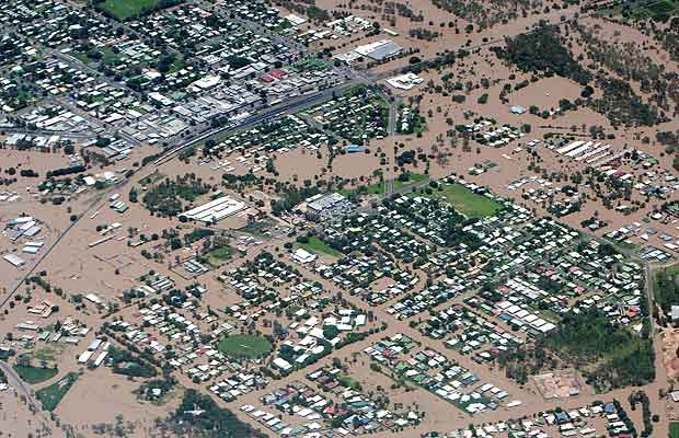 An aerial image showing properties hit by floodwaters in Emerald, Queensland