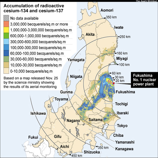 Cesium From Fukushima Plant Fell All Over Japan Even On Okinawa - Japan radiation map 2015