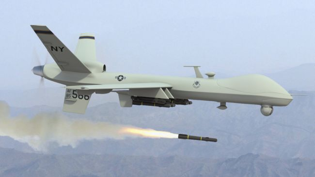 US assassination drone firing a missile