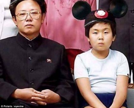 A rare image of Kim Jong Il and his third son Kim Jong Un during his youth. Kim Jong Il has almost never been pictured with his daughters