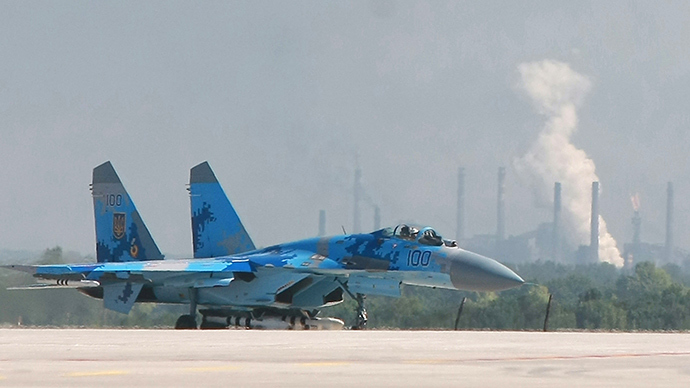 An Ukrainian Air Force Su-27 jet fighter