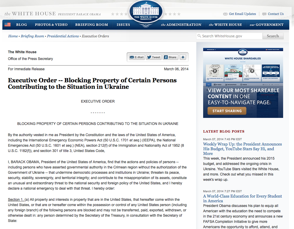 Executive Order — Blocking Property of Certain Persons Contributing to the Situation in Ukraine