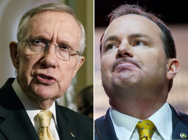 Senate Majority Leader Harry Reid of Nev., Sen. Mike Lee (R-Utah)
