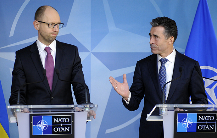 Ukraine's PM Yatsenyuk holds a new conference with NATO Secretary-General Fogh Rasmussen at the Alliance headquarters in Brussels