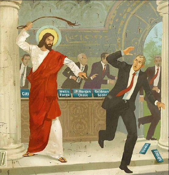 Modern interpretation of Christ driving the money changers from the temple