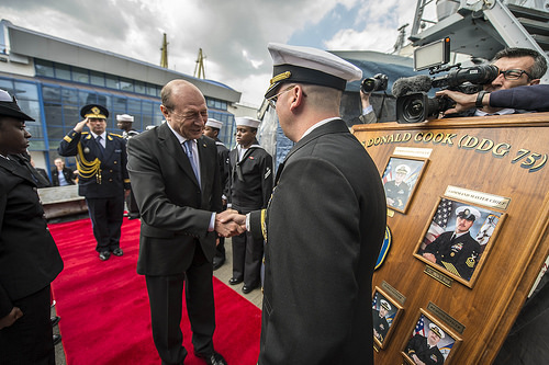 The forward deployed guided-missile destroyer USS Donald Cook (DDG 75) welcomed aboard Romanian President Traian Basescu while the ship was in port in Constanta-2