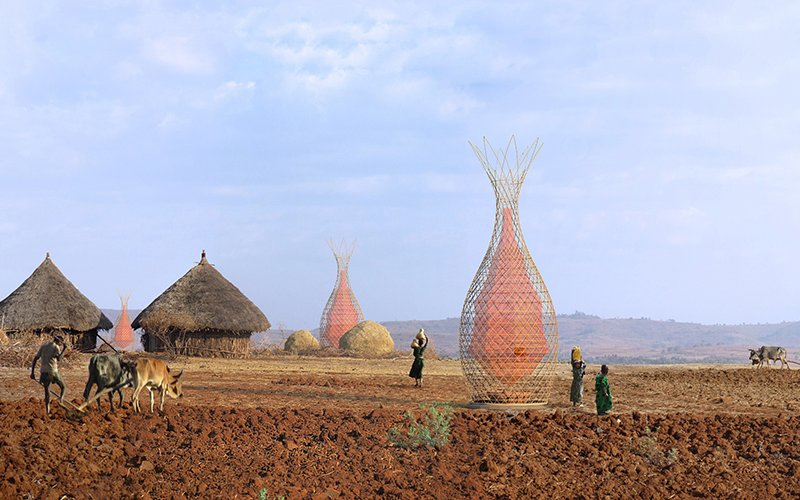 Warka Water towers are designed to take advantage of condensation