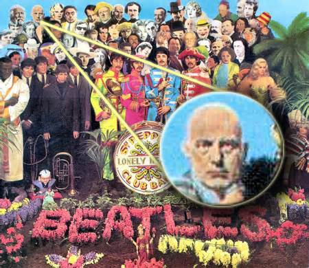 Aleister Crowley on the cover of the Beatles' Sergeant Pepper's Lonely Hearts Club Ban