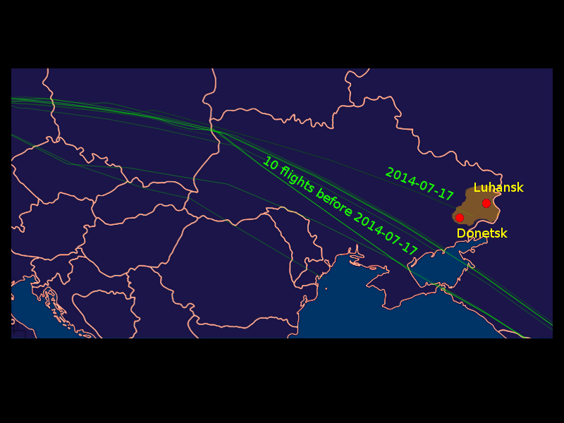 MH 17 flight paths