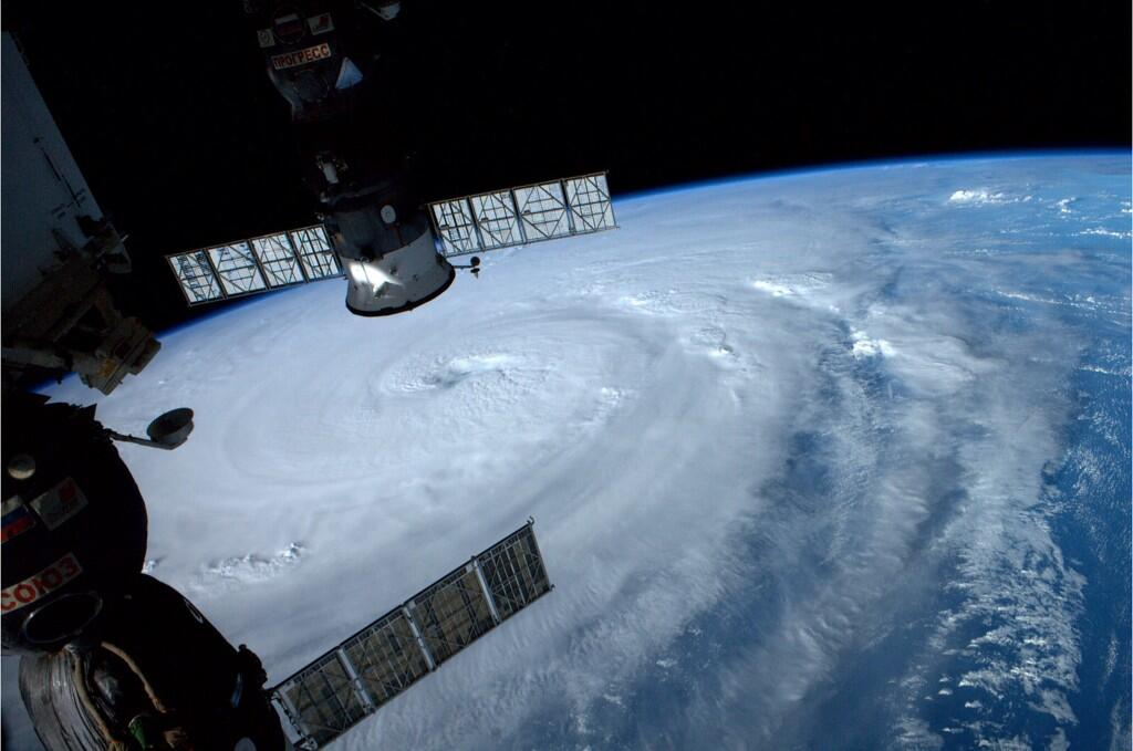 Tweet from astronaut Reid Wiseman aboard the International Space Station: Typhoon Neoguri nearing Japan. Takes up our entire view. Wow