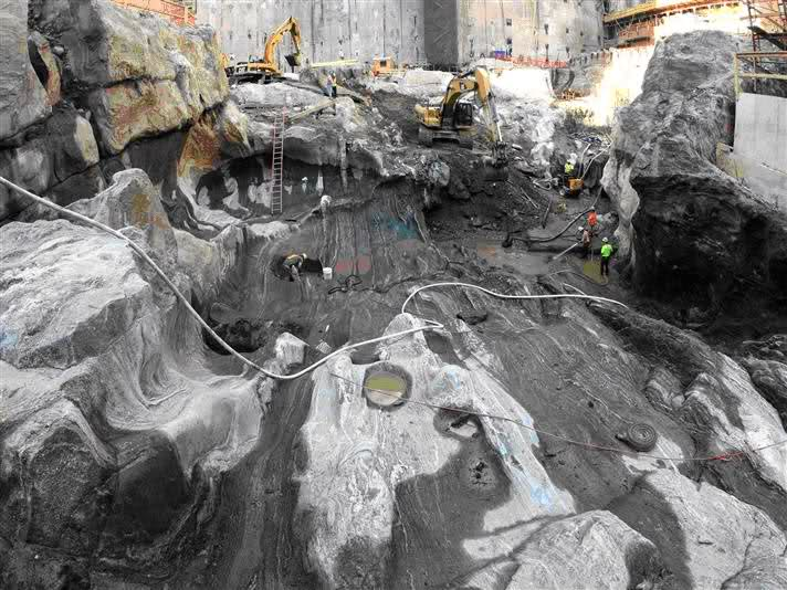 Huge caverns of melted granite were found below the foundations of the Twin Towers