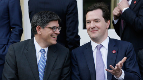 Britains Chancellor of the Exchequer George Osborne (R) speaks to U.S. Treasury Secretary, Jack Lew.(Reuters)