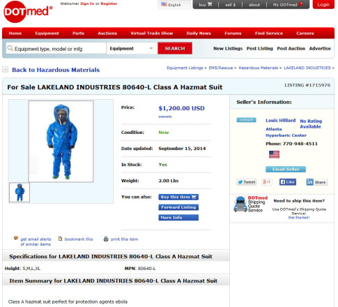 US Government Order Of 160,000 HazMat Suits