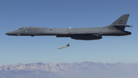 A Long Range Anti-Ship Missile prototype, launched by a B-1 bomber, is designed to maneuver without human control