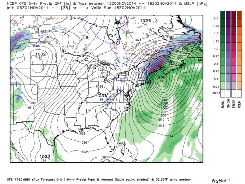 GFS model forecast for Sunday afternoon showing a large storm off New England. (Weatherbell.com)