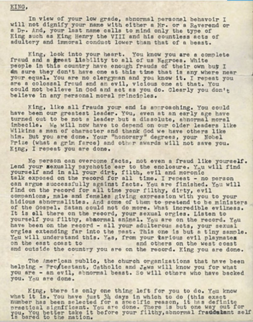 The Full Letter Written by the FBI to Martin Luther King Has Been Revealed