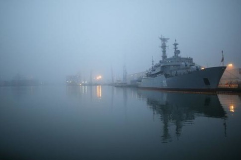 The Russian navy frigate Smolny is seen at the STX Les Chantiers de l'Atlantique shipyard site in Saint-Nazaire