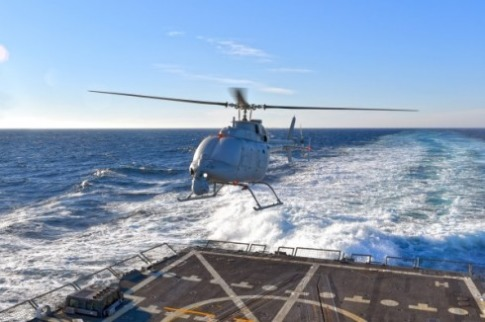 Helicopter Drone Makes First Flight from Navy Destroyer