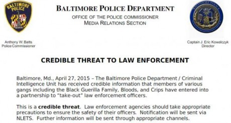 Baltimore-Police-Department-Credible-Threat