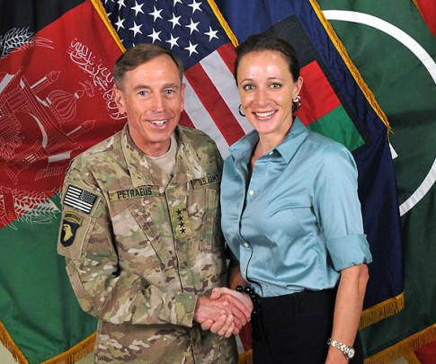 Gen. David Petraeus in a photo with his biographer and mistress Paula Broadwell