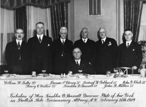 FDR at his induction into the Albany lodge on February 28, 1929 (while he was Governor of New York)