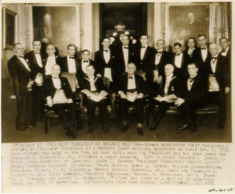 FDR at the initiation ceremony for James and Franklin, Jr. at the Architect Lodge in Manhattan on November 7, 1935.