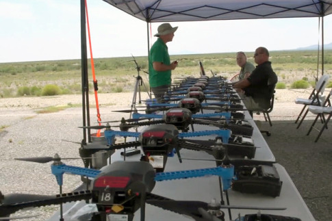Drones awaiting deployment during an exercise at White Sands Missile Range in New Mexico on Sept. 3, 2015.