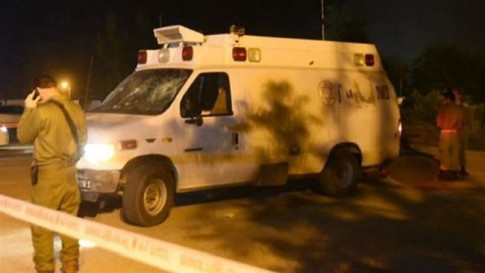 The photo shows the Israeli military ambulance that was carrying ISIL Takfiri terrorists, which came under attack in the occupied Golan Heights on June 22, 2015.