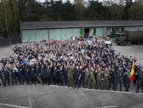 Around 600 members (pictured) of various European police and military forces have carried out a European Union (EU) funded training exercise, in preparation for major civil unrest and even war.