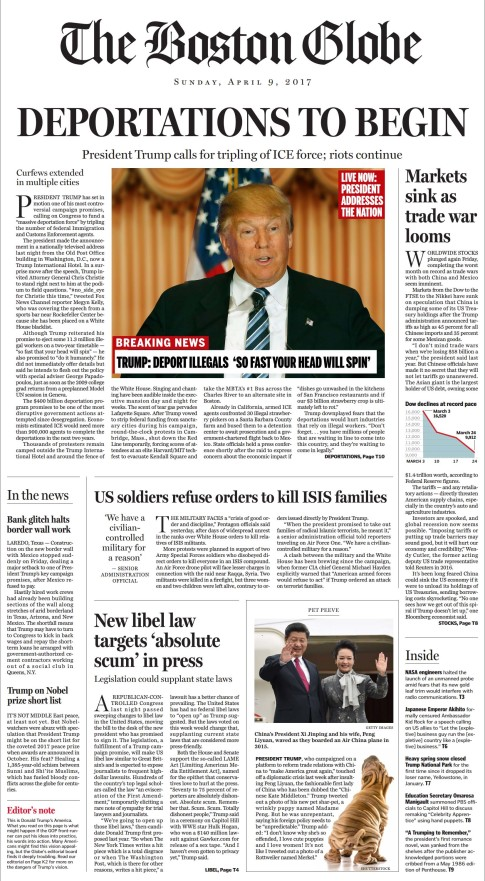 boston globe trump front page