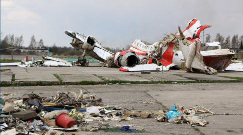 The debris of Polish President Lech Kaczynski's Tu-154 aircraft at Smolensk airfield's secured area