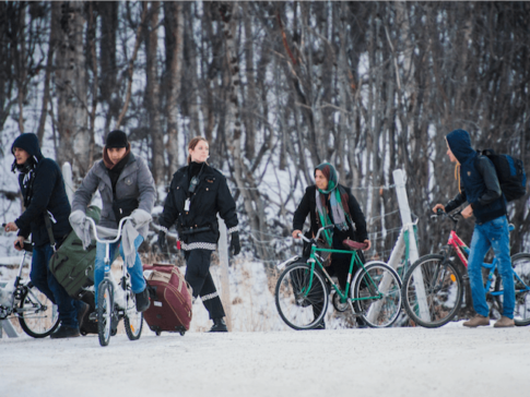 Bikes used by refugees to cross the border from Russia to Norway