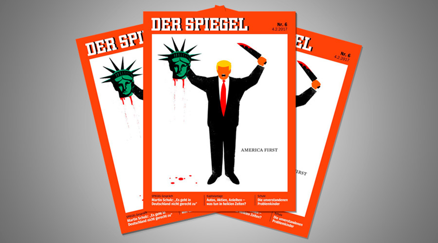 Trump beheads lady liberty in controversial der spiegel for Spiegel magazi