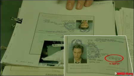 Matrix (1999) Neos Passport expires on September 11, 2001