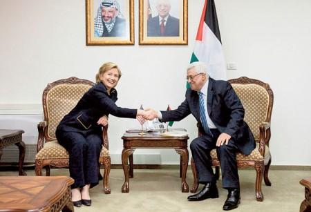 Hillary Clinton meets the Palestinian President Mahmoud Abbas