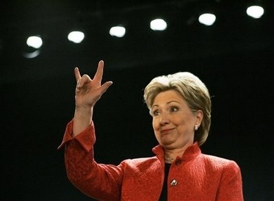 Hillary Rodham Clinton Satanic Handsign