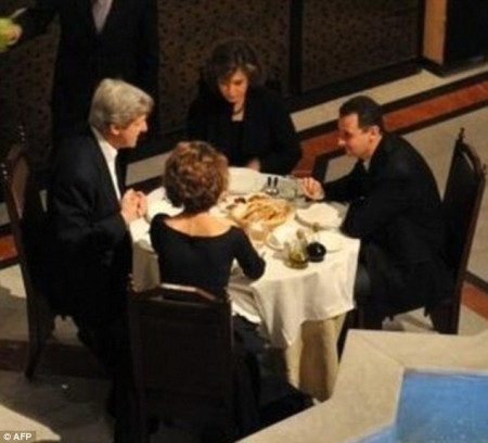 John Kerry having a cozy and intimate dinner with Bashar al-Assad-1