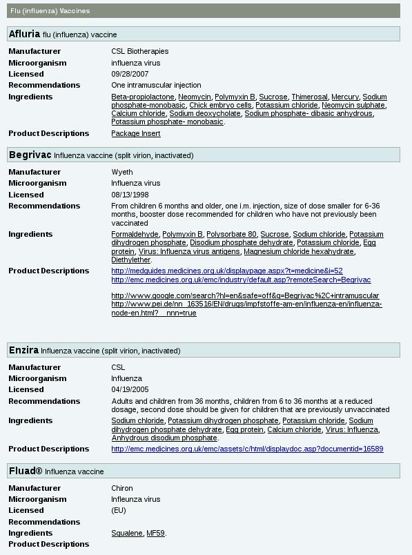 Toxic Influenza Vaccines