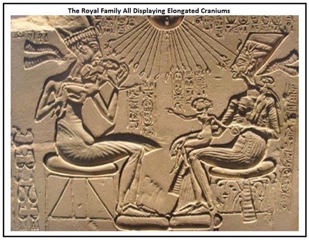 A bas relief of the Pharaoh Akhenaten and wife Queen Nefertiti with their three children, all with elongated craniums.