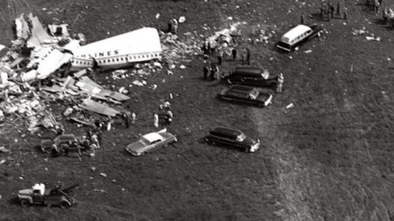 Explosive takes down airplane (top image) - Flight 11 debris covers a field, 1962