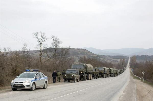Russian trucks cop car