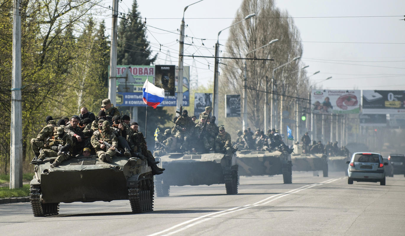 Armoured vehicles with Russian flags
