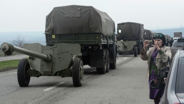 Military vehicles of the Ukrainian Army near Donetsk