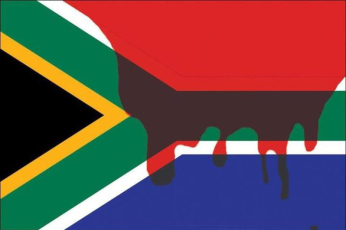 Marikana-mine-workers-blood-stains-South-African-flag