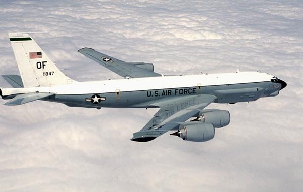 The U.S. RC-135U Combat Sent electronic intelligence plane