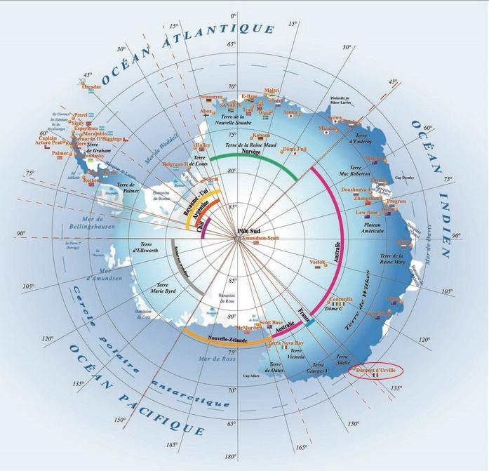 Dumont d'Urville location - Antarctica