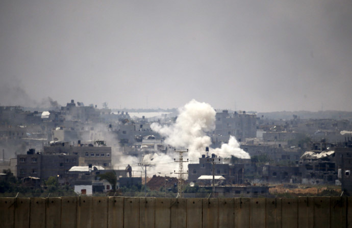 Smoke is seen after an Israeli strike over the Gaza Strip