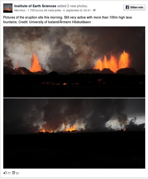 Iceland - The Holuhraun fissure eruption this morning-1