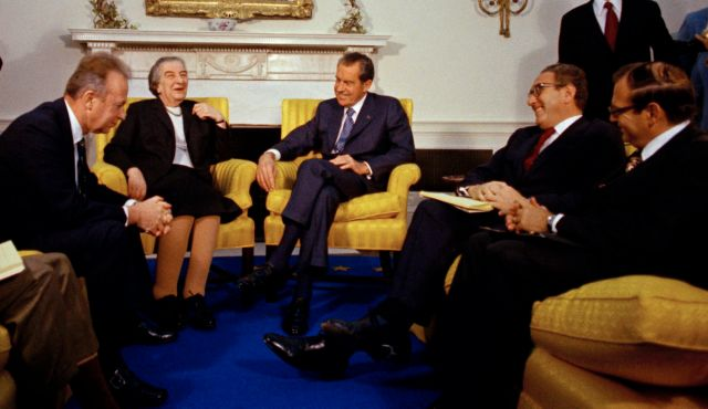 Israeli PM Golda Meir meets U.S. President Richard Nixon in Washington, March 1, 1973