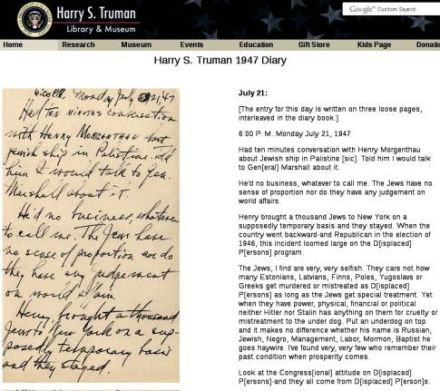 Truman on the Jews